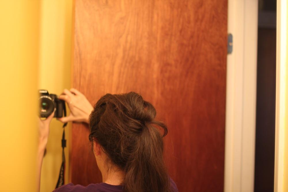 The Messy Hair Bun in progress