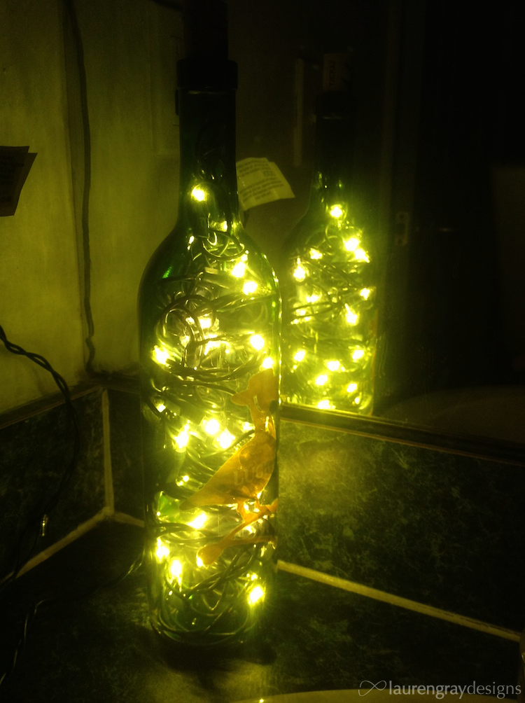 DIY Wine Glass Christmas Light - Lit Up