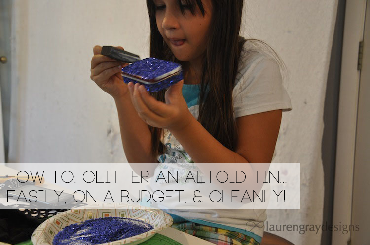 Glittered Altoid Tin with a 10-year-old
