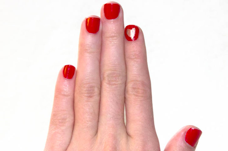 Red & Gold Heart Nails